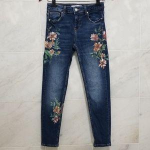 Zara Basic Z1975 Denim Floral Print Skinny Jeans